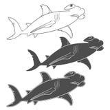 Insieme di vettore delle illustrazioni che descrivono lo squalo del martello Fotografie Stock