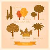 Insieme di vettore delle illustrazioni degli alberi Fotografie Stock Libere da Diritti