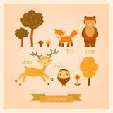Insieme di vettore delle immagini degli animali della foresta Immagine Stock