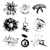Insieme di vettore delle immagini disegnate a mano con il calzino, giocattoli, campane, Santa Claus, regalo, orologio, corona del Fotografia Stock