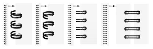 Insieme di vettore delle immagini realistiche delle spirali nere per un taccuino illustrazione di stock