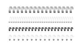 Insieme di vettore delle immagini realistiche delle spirali per il taccuino illustrazione di stock