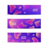 Insieme di vettore delle insegne liquide astratte orizzontali, intestazioni di web Progettazione fluida del fondo di colore, form illustrazione vettoriale