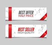 Insieme di vettore delle insegne promozionali di vendita del mercato Migliore offerta, best-seller Immagini Stock
