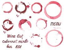 Insieme di vettore delle macchie del vino dipinte acquerello Fotografie Stock
