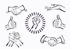 Insieme di vettore delle mani e dei gesti Fotografie Stock