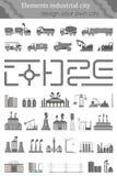 Insieme di vettore delle mappe per la città industriale Fotografia Stock Libera da Diritti