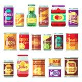 Insieme di vettore delle merci inscatolate Alimento, minestra del pomodoro di conservazione e verdure in scatola royalty illustrazione gratis