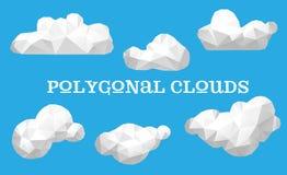 Insieme di vettore delle nuvole poligonali Fotografie Stock Libere da Diritti