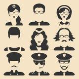 Insieme di vettore delle professioni differenti maschii e delle icone femminili nello stile piano Immagini dei fronti o delle tes illustrazione di stock