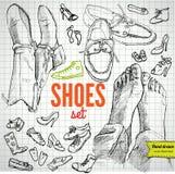 Insieme di vettore delle scarpe di schizzo Fotografie Stock