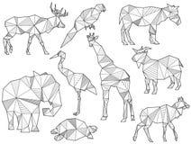 Insieme di vettore delle siluette dell'animale di origami royalty illustrazione gratis
