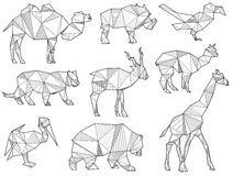 Insieme di vettore delle siluette dell'animale selvatico di origami Fotografie Stock Libere da Diritti