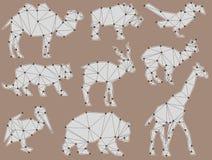 Insieme di vettore delle siluette dell'animale selvatico di origami Fotografia Stock Libera da Diritti
