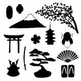 Insieme di vettore delle siluette giapponesi tradizionali dei simbols royalty illustrazione gratis