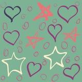 Insieme di vettore delle stelle e dei cuori disegnati a mano Raccolta dello schizzo Immagini Stock