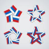 Insieme di vettore delle stelle fatte del nastro con i colori russi della bandiera Immagine Stock