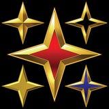 Insieme di vettore delle stelle quattro punti brillanti dorate Fotografia Stock Libera da Diritti