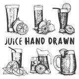 Insieme di vettore dello schizzo disegnato a mano di vetro del succo di frutta Cocktail e bevande dell'alcool Fotografia Stock