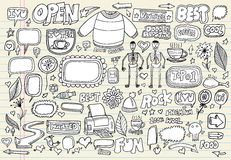 Insieme di vettore di abbozzo di Doodle Fotografia Stock