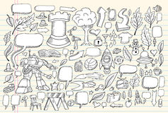 Insieme di vettore di abbozzo di Doodle del taccuino Fotografia Stock