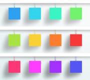 Insieme di vettore di attaccatura quadrata variopinta in bianco delle strutture 3d Fotografia Stock