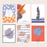 Insieme di vettore di belle carte con bellezza e foglie di autunno, bacche e decorazione disegnata a mano Colori luminosi e paste Fotografia Stock Libera da Diritti