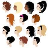 Insieme di vettore di capelli d'avanguardia che designa per la donna Fotografia Stock Libera da Diritti