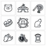 Insieme di vettore di Cat Circus Icons royalty illustrazione gratis