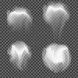 Insieme di vettore di grey bianco realistico trasparente Immagine Stock