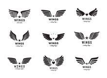 Insieme di vettore di logo della siluetta delle ali Disegno dell'annata Parte due Fotografia Stock