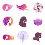 Insieme di vettore di progettazione di logo per il salone di bellezza illustrazione di stock