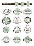Insieme di vettore di retro contrassegni, tasti ed icone Illustrazione Vettoriale