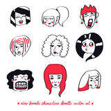 Insieme di vettore di scarabocchio di nove caratteri femminili Immagini Stock