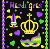 Insieme di vettore di simboli di Mardi Gras Immagine Stock