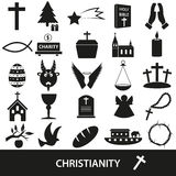 Insieme di vettore di simboli di religione di Cristianità delle icone Fotografia Stock Libera da Diritti