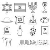 Insieme di vettore di simboli di religione di giudaismo delle icone del profilo Immagine Stock Libera da Diritti