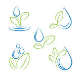 Insieme di vettore di simbolo della foglia e della goccia di acqua Immagini Stock
