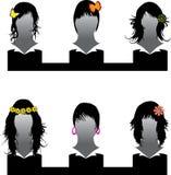 Insieme di vettore di stile di capelli Fotografie Stock