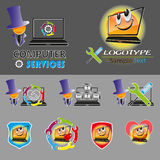 Insieme di vettore di vario logos, smiley per la riparazione, manutenzione del PC, computer portatile royalty illustrazione gratis