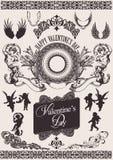 Insieme di vettore. Elementi di disegno del biglietto di S. Valentino. Fotografie Stock