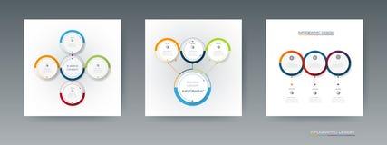 Insieme di vettore, etichetta del cerchio di infographics 3D con le opzioni o punti Fotografie Stock Libere da Diritti
