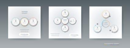 Insieme di vettore, etichetta del cerchio di infographics 3D con le opzioni o punti Fotografia Stock Libera da Diritti