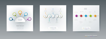 Insieme di vettore, etichetta del cerchio di infographics 3D con 5 opzioni o punti Immagini Stock Libere da Diritti