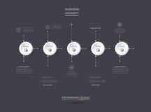 Insieme di vettore, etichetta del cerchio di infographics 3D con 5 opzioni o punti Immagini Stock