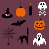Insieme di vettore di Halloween delle icone e dei simboli illustrazione di stock