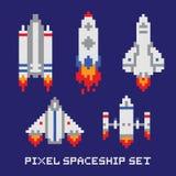 Insieme di vettore isolato astronave di arte del pixel Fotografie Stock Libere da Diritti