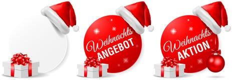 Insieme di vettore isolato bottone di azione di offerta di Natale di Weihnachts Angebot Aktion illustrazione di stock