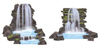 Insieme di vettore isolato cascata della montagna Fotografie Stock
