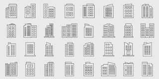 Insieme di vettore di Line Building Icons, Company Immagini Stock Libere da Diritti